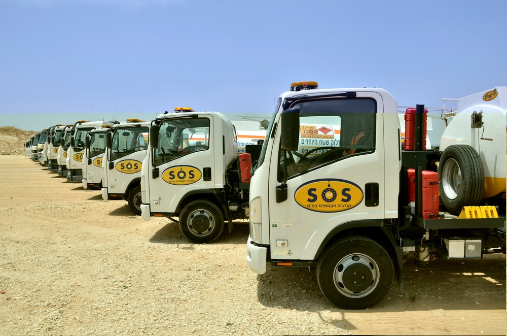 A fleet of trucks around the clock
